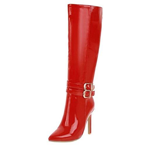 Zanpa Damen Mode Kniehohe Stiefel Stiletto Hohe Ferse Mit Stiefel Reißverschluss Party Fußtrage Lack Red Gr 48