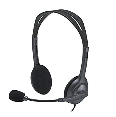 Logitech H111 Wired Headset, Stereo Headphones with Noise-Cancelling Microphone, 3.5 mm Audio Jack, PC/Mac/Laptop/Smartphone/Tablet - Black by Logitech
