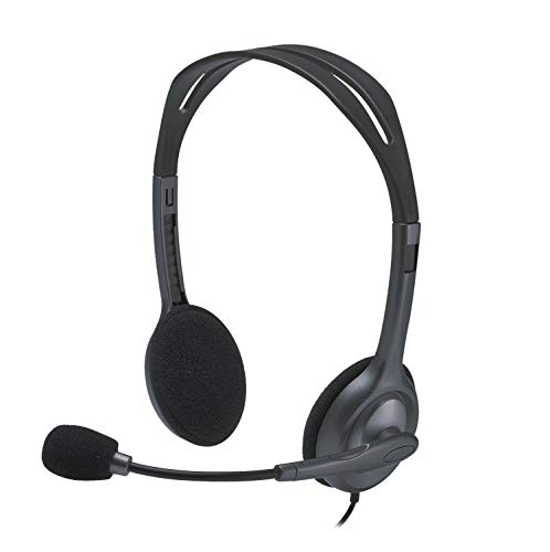 Logitech H111 Kopfhörer mit Mikrofon, Stereo-Headset, Mikrofon und Kopfbügel verstellbar, Weiche Ohrpolster, 3,5mm Klinke, 2,3m Kabel, Plattformübergreifend kompatibel, PC/Mac/Laptop/Tablet/Smartphone