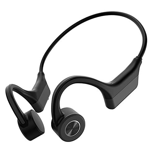 Auriculares de Conducción ósea, WANFEI Auriculares de Conducción ósea Bluetooth 5.0 Auriculares Manos Libres Inalámbricos con Micrófono para Reuniones de Conducción Deportiva