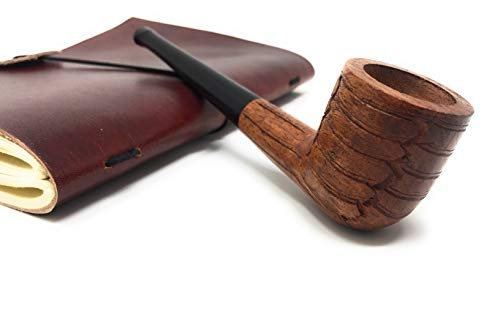 High Quality Wood Tobacco Pipe Straight Billiard 6 inches, Detachable Durable Solid Ebony Long stem Carved Design