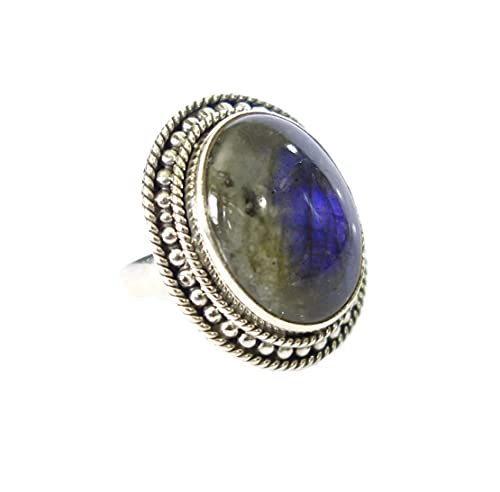 Joyería hecha a mano única de la moda genuina piedra natural única anillo de dedo mujeres hombres plata de ley 925 labradorita tribal fina gitana bohemia anillo de EE.UU. tamaño 7.5