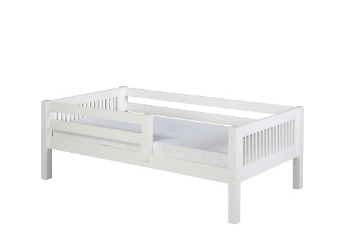 Camaflexi Mission Style Solid Wood Day Bed with Front Rail Guard, Twin, White