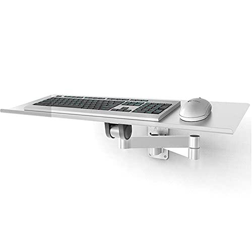 YXZN Bandeja de Aluminio para Teclado Ratón Ajustable para Montaje en Pared Plataforma para Teclado Ahorro de Espacio Soporte para Teclado telescópico montado en la Pared