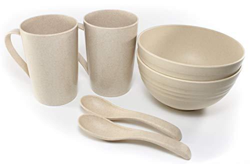 Vajilla para Desayunos Saludables Ideal para Parejas Compuesto por 2 Cuencos 2 Tazas y 2 Cucharas en Color Beige Fabricados con Paja de Trigo Irrompibles Ecológicos y Biodegradables