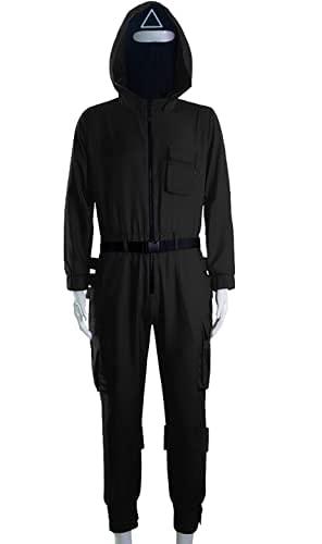 Kavousa Traje de juego unisex + guantes + cinturón 3 piezas de Halloween juego de fiesta 2021 TV Cosplay ropa para hombres y mujeres, Negro, M