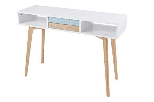 BuyDream EIN moderner Design Konsolentisch Egan Weiß/Blau/Holz ca. 110cm (L/T) x 35cm (B) x 78cm (H) Tischplatte: MDF lackiert, Tischbeine: Massivholz