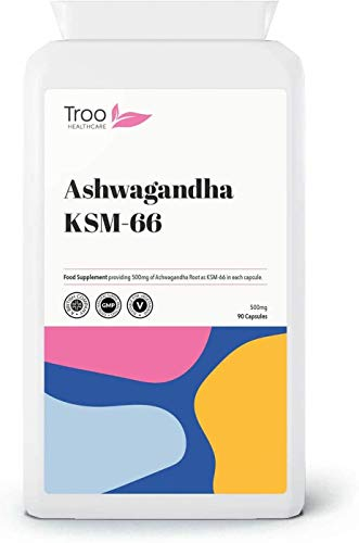 Ashwagandha KSM 66 Supplement (500mg) - 90 Capsules | Root Extract Supplement | UK Manufactured to GMP Standards