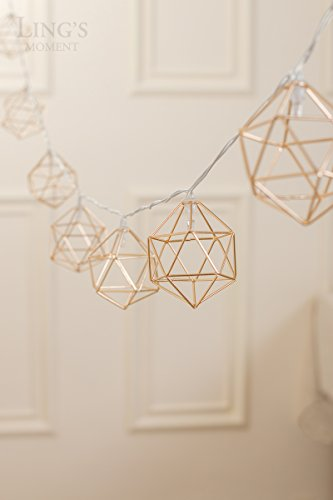 Lings moment Gold Geometric Metal LED String Lights AA Battery Powered 5.2FT 10 LEDs String Lights for Wedding Minimalist Boho Decor Decorative Patio Parties Gold Bedroom Decor (Soft White)