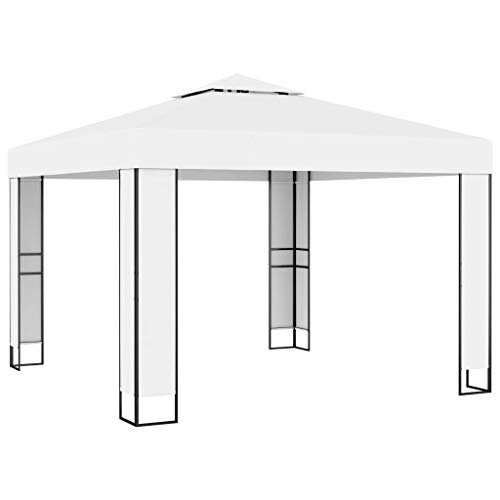 vidaXL Paviljon med dubbeltak 3 x 3 m vit