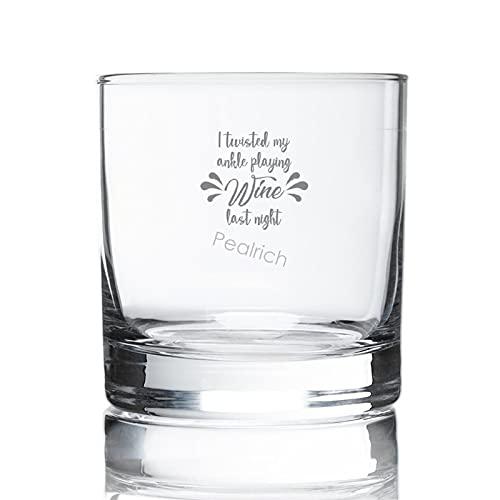 I Twisted My Ankle Playing Wine Last Night, Funny Wino Old Fashioned Whiskey Copas de 11 oz para vino, escocesa, cócteles, jugo y agua, regalos para amantes de la escocesa, copas de vino grabadas