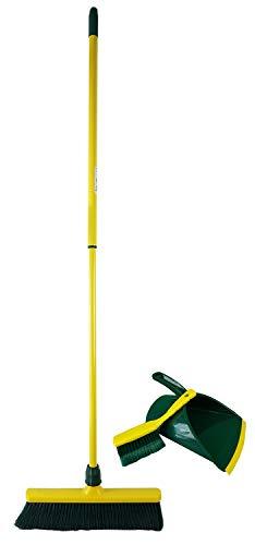 Novaliv Krallenbesen Set 40 cm Kunststoff mit Teleskopstiel Kehrgarnitur gebogenen Borsten Gartenbesen Straßenbesen Kehrbesen (Besen + Kehrschaufel Set Krallenhandfeger, 40 cm)