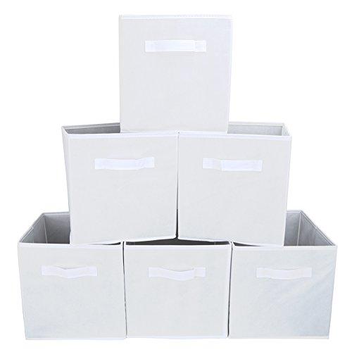 EZOWare Caja de Almacenaje con 6 pcs, Set de 6 Cajas de juguetes, Caja de Tela para Almacenaje, Novia Blanca