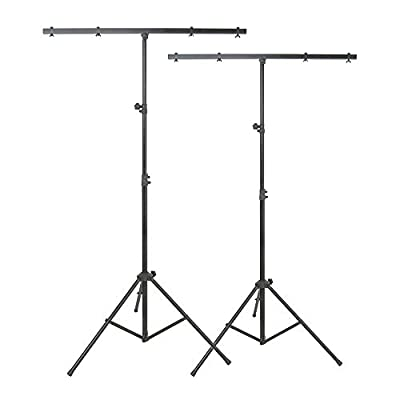 2x QTX LT01 Lighting Stand Tripod T-Bar for Light Effect DJ Disco 2.5M Height 30Kg