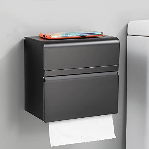 Sxcespp Caja de pañuelos autoadhesiva montada en la pared para baño, caja de pañuelos de doble capa de aleación de aluminio negro, rejilla multifuncional de doble capa, sin perforaciones, sin daños en