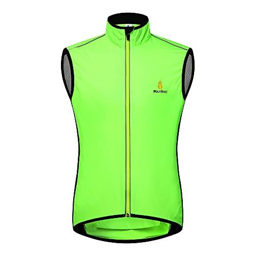 WOLFBIKE Cycling Jacket Jersey Vest Wind Coat Windbreaker Jacket Sportswear Outdoor (Vest-Green, Medium)