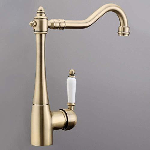 YBB-YB YankimX - Grifo de lavabo de cobre antiguo para baño con una sola manija para montar en la cubierta