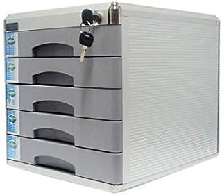 SH-CHEN Desktop Drawer Sorter, Aluminum Alloy 4-Layer Newspaper Racks Drawer Lockable Desktop Drawer Organizer 30 36 20.8cm (Colour-Grey) (Size : Medium5-layers) File Cabinets