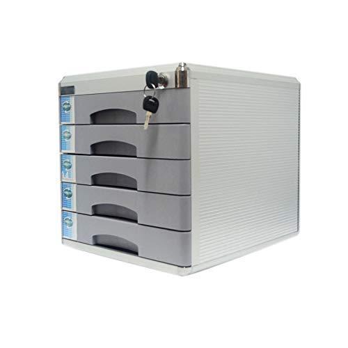 KANJJ-YU Escritorio cajón clasificador, de aleación de aluminio de 4 capas de periódicos Bastidores de cajón con cerradura de escritorio cajón Organizador 30 * 36 * 20.8cm (Color-gris) (Tamaño: Medium