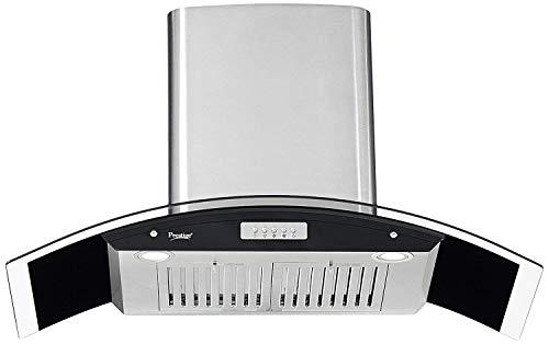 Prestige 1000 m³/hr Curved Glass Kitchen Chimney (GKH 900 CS-Plus, Baffle Filters, Silver)