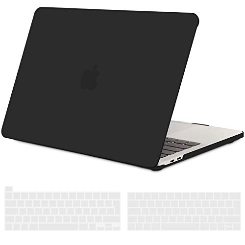 TECOOL MacBook Pro 13 inch Case 2016-2020 (Model: A2338 M1/ A2289/ A2251/ A2159/ A1706/ A1989), Plastic Protective Hard Shell Case Cover and EU Keyboard Cover for MacBook Pro 13 Touch Bar - Black