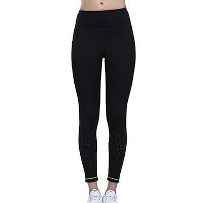 ZJY Yoga Leggings Damen Damen Stretch Sport Leggings mit hoher Taille Out Taschen Yoga Pants Laser Cut Workout Gym Strumpfhosen Weiß Reflektierende Running Hose Yogahosen FüR Damen