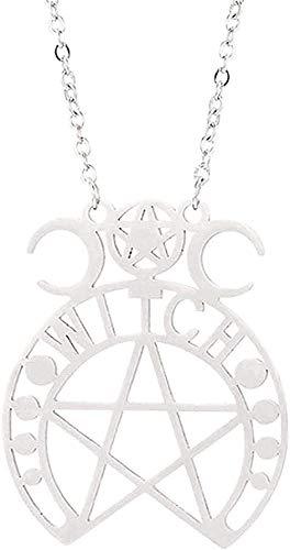 YOUZYHG co.,ltd Collar Pentagram Magic Amuleto Collar de Acero Inoxidable Mujeres Árbol de la Vida Colgantes de Luna Joyería Vintage Collar para Mujeres Hombres Regalos