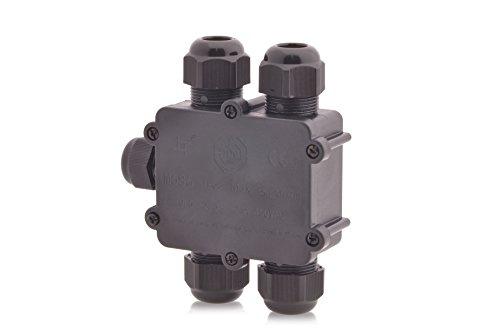 Verteilerdose Wasserdicht | IP68 | 24A 450V AC | 5 Öffnungen | Kabelquerschnitte: M25 4-14mm | 5-polig Dosenmuffe Kabelverbinder Erdkabel, Installationsgehäuse Wege Verbindungsbox Verbindungsmuffe