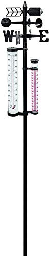 Dynamic24 XL Garten Wetterstation 145cm Barometer Regenmesser Thermometer Windstärke