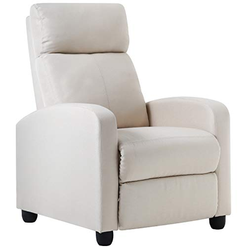 Recliner Chair for Living Room Recliner Sofa Reading Chair Winback Single Sofa Modern Reclining Chair Home Theater Seating Easy Lounge with Fabric Padded Seat Backrest (Fabric Beige)