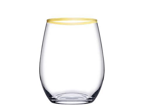 PASABAHCE Amber - Juego de 6 vasos de cristal, transparente con borde dorado, 35 cl
