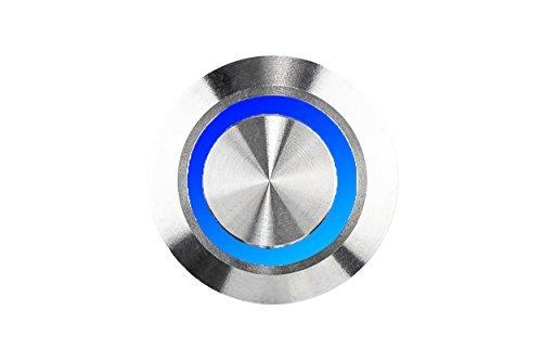 HUBER LED Klingeltaster 12662, Edelstahl vandalismussicher, strahlwassergeschützt, LED Lichtfarbe blau