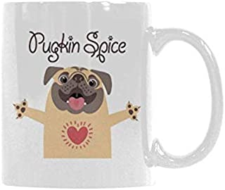 Pug Pumpkin Pugkin Spice Latte Coffee Mug Ceramic Funny Cup Creative Gift For Christmas Thanksgiving Festival Friends Men Women 11oz