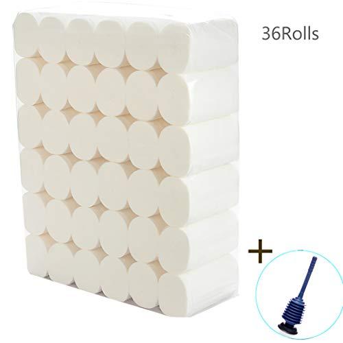 GSCCC 4-laags toiletpapierrollen, 36 rollen dakloze papieren handdoeken, toiletpapier bulk, papieren handdoeken voor dispenser, gemakkelijk te degraderen en niet om het toilet te blokkeren