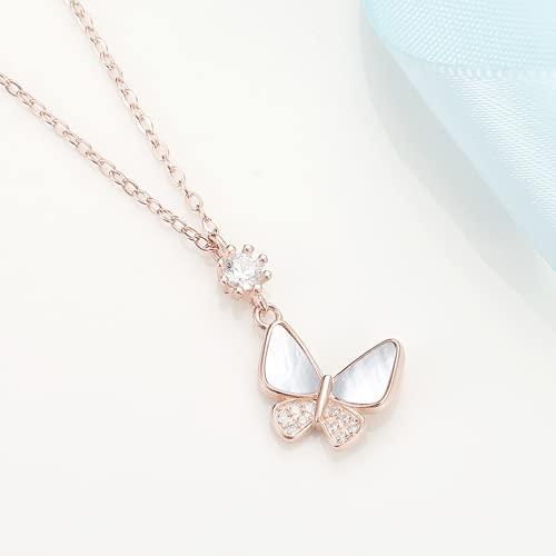 Kkghta Silber Schmetterling Muschel Halskette Frauen 925 Sterling Silber Schmuck Tempel Design Weiß Protestine Halskette Licht Eigenkapital