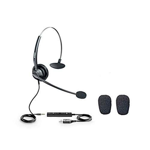 Yealink USB and 3.5mm Jack Mono Headset-YHS33-USB   VoIP, PC Headset   Noise Cancelling   Windows and Mac Compatible   with 2pk Windscreen