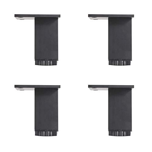 Pie de apoyo para muebles Pie de armario de aleación de aluminio Accesorios para muebles - cuatro paquetes, pie de armario cuadrado ajustable Pie de armario de TV Pie de armario de baño Pie de cama