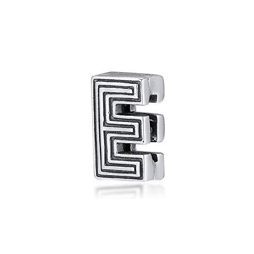LIIHVYI Pandora Charms para Mujeres Cuentas Plata De Ley 925 Joyas con Clip De Letra E Real Compatible con Pulseras Europeos Collars