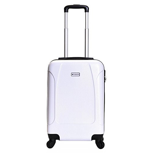 Slimbridge Hard Cabin Hand Luggage Carry-on Suitcase Bag 55 cm 2.5 kg 35 litres 4 Wheels Number Lock, Alameda White