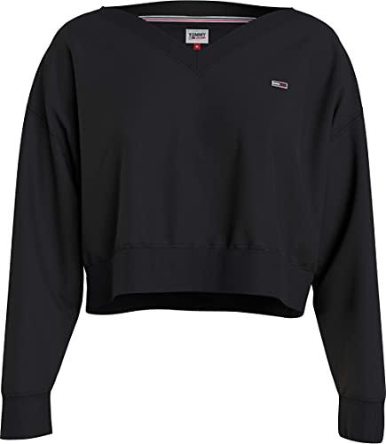 Tommy Jeans Damen TJW SOFT V NECK SWEATSHIRT Pullover, Schwarz, S