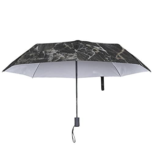 Paraguas plegable de textura de mármol con cierre abierto automático – Paraguas de viaje resistente al agua, White (Blanco) - Lind88-UBR