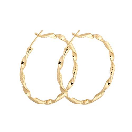 FENICAL 1 par de Pendientes de Las Mujeres con Estilo Rizado Grande círculo circón aretes de oído Regalo de Boda de la decoración de cumpleaños de la Muchacha para la señora de la Muchacha (Oro)