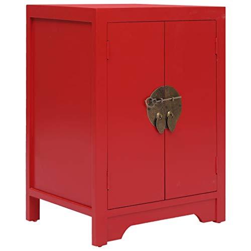 vidaXL Paulownia Holz Nachttisch mit 2 Türen Chinesischer Stil Nachtschrank Nachtkonsole Nachtkommode Schlafzimmer Kommode Telefontisch Rot 38x28x52cm