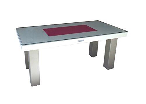 Styl'Métal 21 Table Basse Rect100 métal Taupe, Blanc et Fuschia