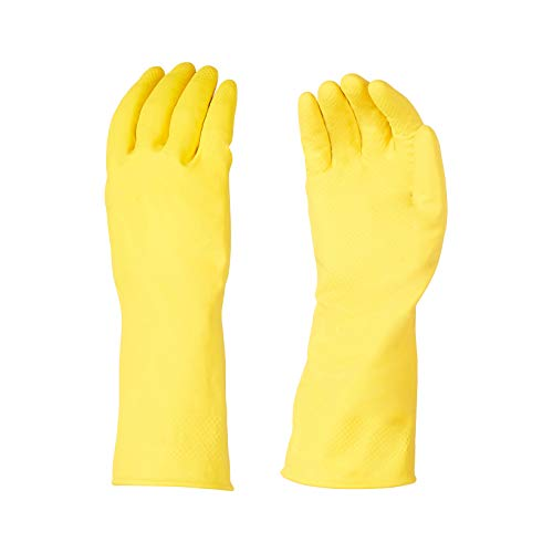 AmazonBasics Professional Reusable Rubber Gloves, Large, Yellow, 3-Pack