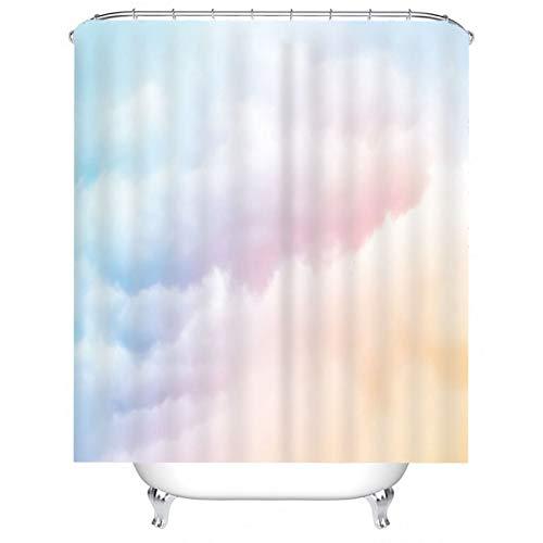 KnSam Duschvorhang, Wolken Bad Vorhang Polyester Duschvorhang Aufhänger Badvorhang Für Fenster Duschvorhänge 71X71Inch