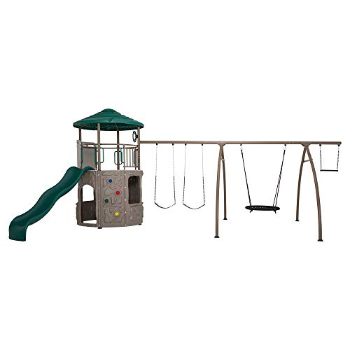 Lifetime 90804 Adventure Tower Playset with Spider Swing, Earthtone