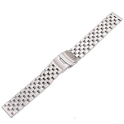 LCISCOUP Correa Reloj Pulsera de la Banda del Reloj de reemplazo de la Cadena sólida de 22 mm de Plata (Band Color : Silver, Band Width : 22mm)
