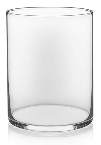 "Floral Supply Online - 8"" Tall x 5"" Wide Cylinder Glass Vase for Weddings, Events, Decorating, Arrangements, Flowers, Office, or Home Decor. - The Glass Cylinder Vase by Floral Supply Online. A trusted brand name proudly owned by an American company and is protected by US Trademark Serial #87585620. Look for the ""Floral Supply Online"" unique logo to ensure authenticity, consistency, and quality. Stable and sturdy cylinder vase weighing in at over 2 pounds with thick glass walls and weighted base to ensure durability. 7.56"" usable height on the inside of the vase with 4.75"" usable internal width. (7.93"" external height x 4.9"" external width) - vases, kitchen-dining-room-decor, kitchen-dining-room - 3169R+u2qhL -"