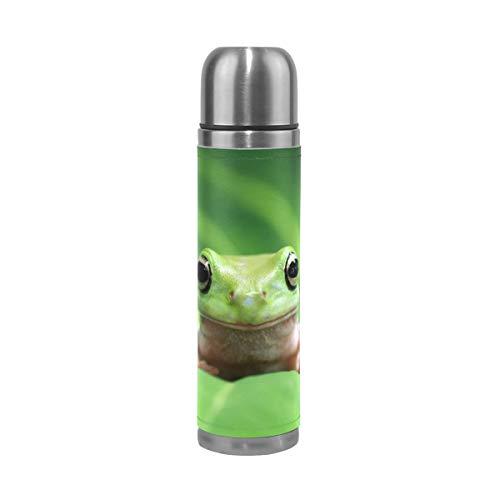 BKEOY Mug de voyage isotherme en acier inoxydable à double paroi anti-fuite avec feuilles vertes et grenouille en cuir véritable imprimé personnalisé 500 ml